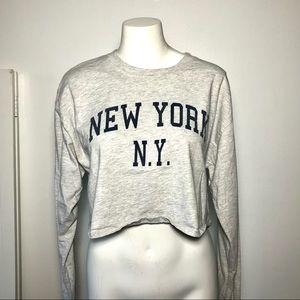 Brandy Melville New York NY Grey LS Crop Top